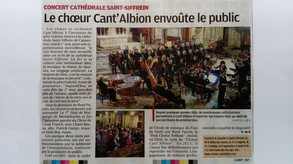 Article La Provence Carpentras mai 2018