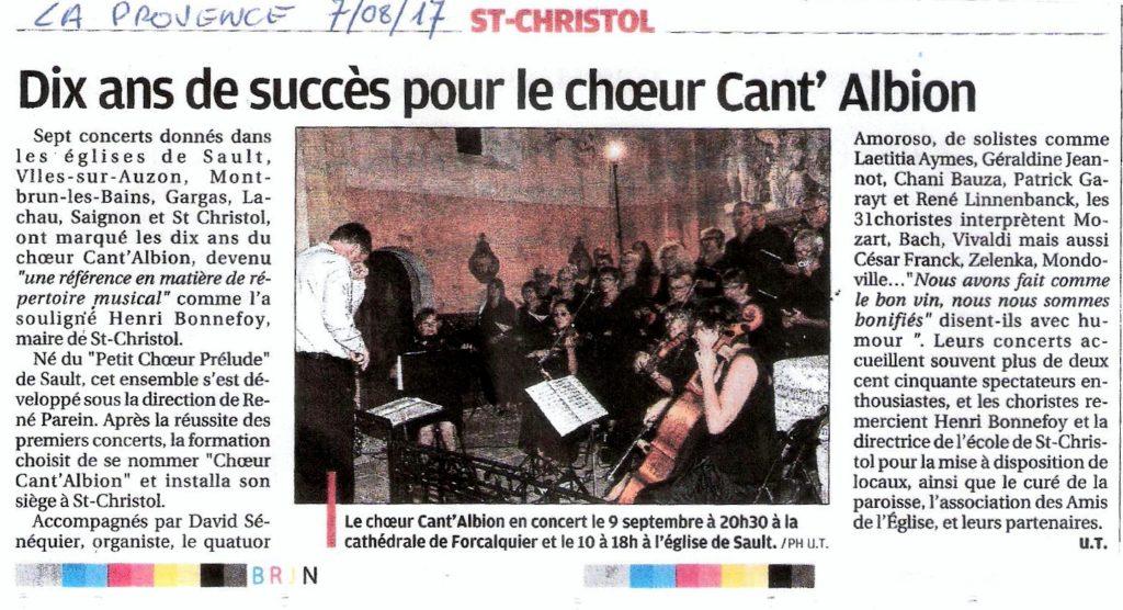 Presse St Christol La Provence